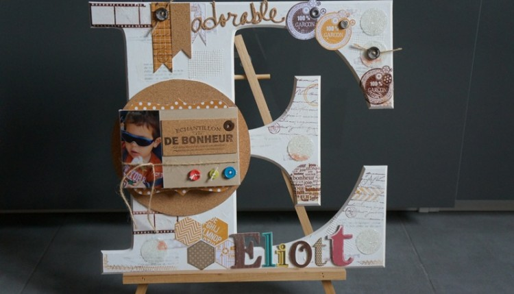 2 me atelier de scrap une grande lettre en carton bois et son mini. Black Bedroom Furniture Sets. Home Design Ideas
